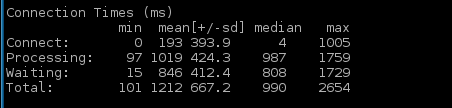 Apache BenchMark Connection Information